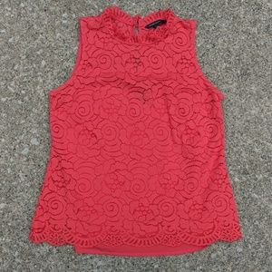 Banana Republic Red Lace High Neck Crop Top